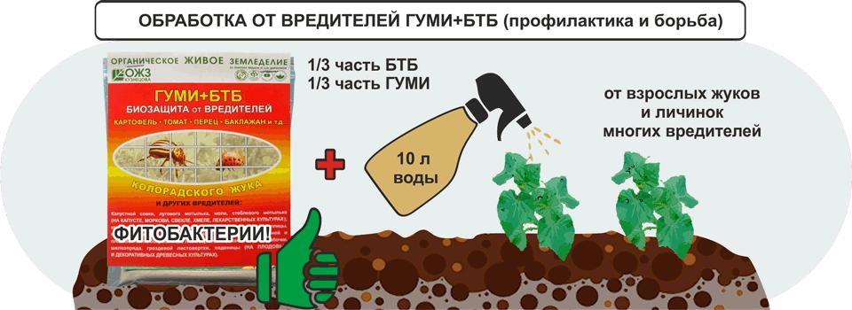 Обработка от вредителей Гуми+БТБ